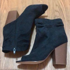 Black High Heel Booties. Size 10